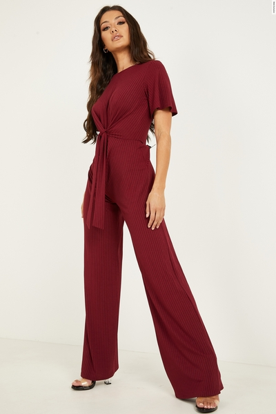 Berry Ribbed Tie Front Jumpsuit